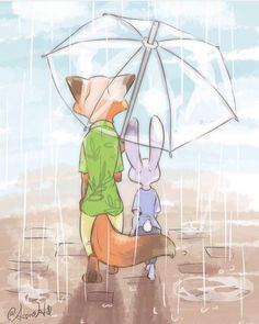 Together, no matter what the weather—nick & judy ♡ Zootopia Fanart, Zootopia Comic, Disney And Dreamworks, Disney Pixar, Disney Character Drawings, Disney Characters, Zootopia Nick And Judy, Disney Artwork, Judy Hopps