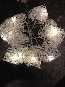 RATTAN HEART LIGHTS GARLAND 10 WHITE HEARTS NEW BATTERY OPERATED WEDDING HOME | eBay