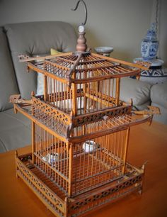 Antique Chinese Large Bamboo Wood Bird Cage Porcelain ball feeder Pierce Carving #Qing