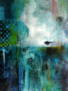 painting in teal blue, turquoise & green Artist: Jeanne Bessette
