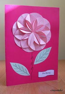 Prace plastyczne - Kolorowe kredki: Kartki origami na Dzień Matki