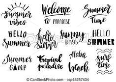 Set of hand drawn summer theme phrases. modern lettering quotes. Set of hand drawn summer theme lettering phrases. modern