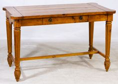 Lot 648: Pine Library Table; Having one center drawer