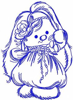 Bunny yoke embroidery design. Machine embroidery design. www.embroideres.com
