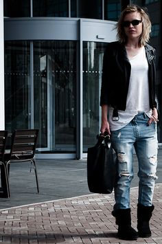 H&M Black Leather Biker Jacket With Straps Strappy, H&M Plain White Basic Tee, Zara Ripped Slashed Destroyed Boyfriend Oversized Baggy Blue Jeans, Black Ug Gs Bailey Button Short, Zara Oversized Black Leather Shopper Bag, Ray Ban Wayfarer Classic Black