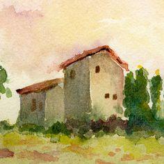 italian landscape Tuscan Spring watercolor print by bleuherron