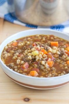 Swap out the barley and try farro in soups. It doesn't get mushy and is so delicious and good for you. This recipe is for Beef and Farro Soup and it's AMAZING.