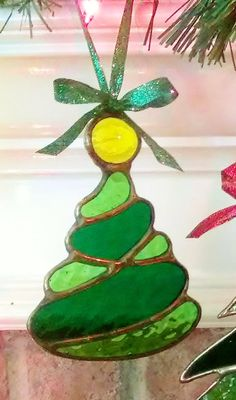 Stained Glass Art Deco Abstract Christmas Tree by JBsGlassHouse