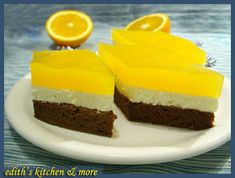 a cooling, orange tasting deliciousness. Edith's Kitchen, Romanian Food, Cobbler, Yummy Cakes, Nutella, Cheesecake, Pudding, Sweets, Cookies