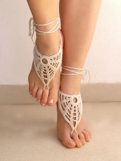 Ivory Handmade Barefoot Sandals - Victorian Lace OOAK