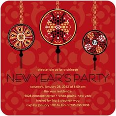 Chinese New Year Invitations Hanging Medallions - Front : Scarlet