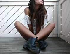 summer dress and rugged boots