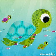 Sea turtles Nursery Wall Art Print Kids Room Decor by CherimoyaArt