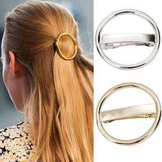 2016 Women's Punk Circle Hairpin Golden Silver Alloy Round Hair Clip Clamp Headwear  7GSO AURZ