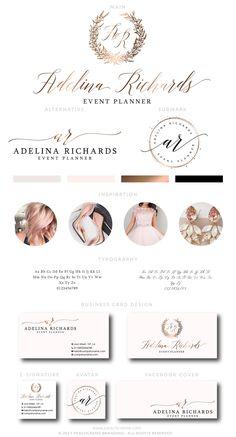 Wedding Logo, Wedding Planner Logo Design, Photography Logo Design, Rose Gold branding Package, Predesigned Rose Gold Logo Package by PeachCreme on Etsy