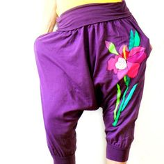 L/XL crazy yoga pants appliqued in colourful toffee,colour purple.Recycled ,again process.