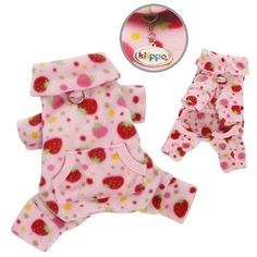 Yummy Strawberries Fleece Turtleneck Dog Pajamas / Bodysuit Size: Lage ** Wow! I love this. Check it out now! : dog clothes