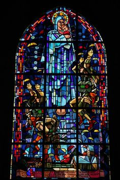 paratrooper stained glass window in france | Normandy Normandie D Day June 6 1944 WWII Lest We Forget