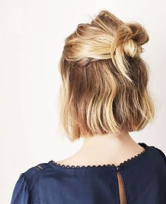 This half-up style is perfect for bobbed hair.