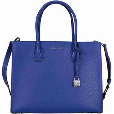 Michael Kors Mercer Large Bonded Leather Tote - Electric Blue (390 AUD) ❤ liked on Polyvore featuring bags, handbags, tote bags, michael kors tote, royal blue purse, tote bag purse, michael kors tote bag and royal blue handbag