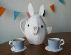 felt bunny tea set