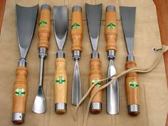 Set of Seven Wood Sculpture Tools by Henry Taylor
