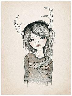 ANTLER GIRL Print 9X12 by KelliMurrayArt on Etsy, $20.00