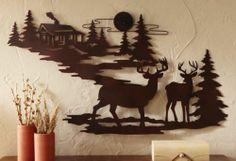 NEW RUSTIC METAL WALL ART DECORATIVE DEER EVERGREEN TREES LODGE CABIN DECOR HANG