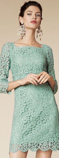 Dolce & Gabbana ~ Couture Spring Lace Mini Dress w Long Sleeves, Mint Green 2015