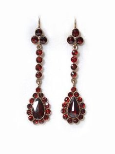 Edwardian Bohemian Garnet Drop Earrings - $4000