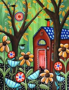 House in a Forest - by Karla Gerard Karla Gerard, Arte Floral, Naive Art, Whimsical Art, Art Plastique, Oeuvre D'art, House Painting, Painting Inspiration, Folk Art