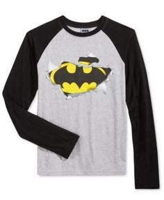 Dc Comics Batman Raglan-Sleeve T-Shirt, Boys (8-20) - Gray L