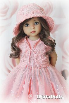 Set for Little Darling dolls 13 inch by Dianna Effner: bolero, dress and hat The clothes is made of 100% cotton and embroidered lace. Fastens at the back of the tiny metal sew buttons. The hem of the dress is processed with overlock The bolero and hat made of 100% Microfiber