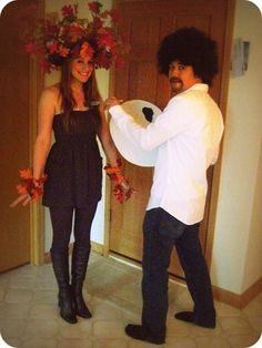 Bob Ross + Happy Tree = Couple Costume. I love this costume so much! I used to watch his show all the time when I was little.....BY CHOICE :D