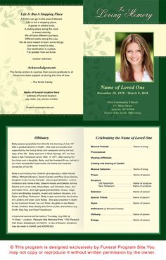 Ambience Contemporary Funeral Program Template Design