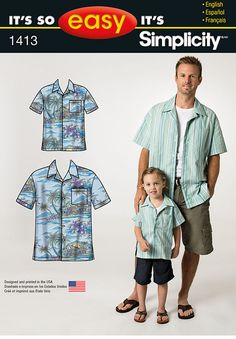 """it's so easy boys' and men's short sleeve shirt has button front and chest   pocket. it's so easy by simplicity sewing pattern.<p></p><img src=""""skins/skin_1/images/icon-  printer.gif"""" alt=""""printable pattern"""" /> <a href=""""#"""" onclick=""""toggle_visibility('foo');"""">printable pattern terms of   sale</a> <div id=""""foo"""" style=""""display:none; margin-top: 10px;"""">digital patterns are tiled and labeled so you can   print and assemble in the comfort of your home. plus, digital patterns incur no shippin..."""