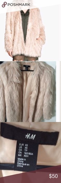 H&M Faux Fur Coat Dusty pink new Faux Fur Coat. Could very well fit a small. Size xs H&M Jackets & Coats