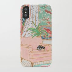 Catnap - Tuxedo Cat Napping in Chair by the Window iPhone Case