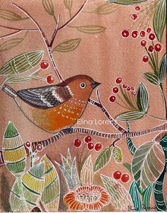 Brown Bird / Bird Art / Original watercolor by sublimecolors, $39.99