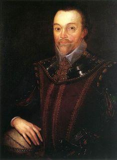 """* Sir Francis Drake Buckland Abbey *  (c. 1590). (by Marcus Gheeraerts, o Jovem). (* Tavistock, c. 1540 . + Portobelo, Panamá, 27/Janeiro/1596). Pirata, Corsário, Navegador, Político, Capitão inglês, Vice-Almirante à época de Elisabeth I. Morreu de """"caganeira""""."""