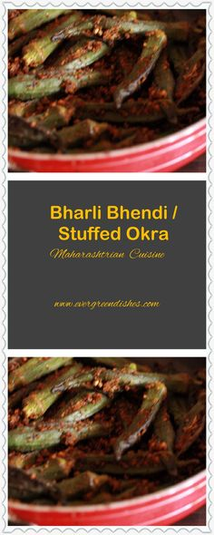 Stuffed okra or bhendi from Maharashtrian cuisine is flavoursome. A medley of spices is filled in fresh, tiny, lady fingers and cooked. Vegetarian Platter, Tasty Vegetarian Recipes, Dairy Free Recipes, Healthy Recipes, Healthy Dishes, Tasty Dishes, Eating Healthy, Indian Curry, Okra