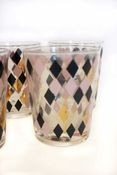 "Black & Gold Vintage Glasses Retro MCM 3.5"" LAST SET of 5 MCM Diamond Atomic"
