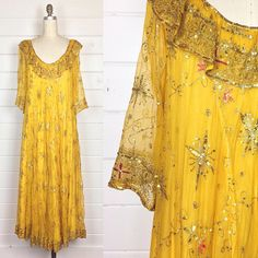 r e s e r v e d Vintage 1970s Gold Tissue Silk Maxi Dress /