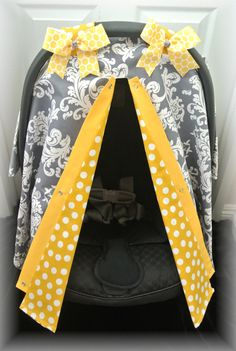 car seat canopy, car seat cover, gray, white, mustard, damask, yellow, polka dot, baby carseat, infant girl, baby girl, baby boy, infant boy on Etsy, $35.99