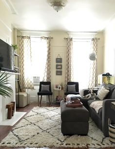 Name: Justine Location: Greenpoint — Brooklyn, New York Our apartment is a railroad style apartment. At first, this was difficult to decorate, as we had to decide on small living room or small bedroom. To us, a living room was more important.