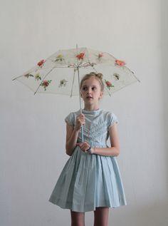 1950s Little Girls Dress . Baby Blue . Lace Ruffles . Chevron Stripes . Kids . Childrens ..@Randi Brook for Londy