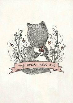 my sweet sweet nut #etsy #squirrel #illustration