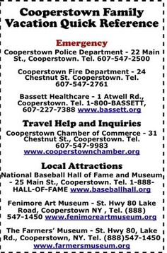 Cooperstown NY Take-Along Quick Reference Card for Your Family Vacation Baseball Tournament, Baseball Park, Nationals Baseball, Baseball Boys, Baseball Stuff, Cooperstown All Star Village, Cooperstown Dreams Park, Cooperstown New York, Baseball Training