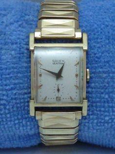 Vintage Gruen Veri-Thin Watch 14K Gold Filled 17 Jewels and 10K GF Champion Band #Gruen #Dress