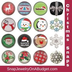 Snap jewelry Christmas snaps, add interchangeable snaps to a piece of base jewelry - Adding new items to my website, weekly. Sign up for my emails and get password access to all new items just posted and coupon codes to save on your order. www.SnapJewelryOnABudget.com https://www.facebook.com/groups/SnapJewelryOnaBudget/ 1000s of snaps and jewelry bases to choose from.